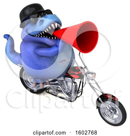Clipart of a 3d Blue T Rex Dinosaur Biker Riding a Chopper Motorcycle, on a White Background - Royalty Free Illustration by Julos