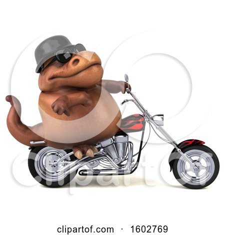 Clipart of a 3d Brown T Rex Dinosaur Biker Riding a Chopper Motorcycle, on a White Background - Royalty Free Illustration by Julos