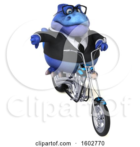 Clipart of a 3d Blue Business T Rex Dinosaur Biker Riding a Chopper Motorcycle, on a White Background - Royalty Free Illustration by Julos