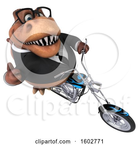 Clipart of a 3d Brown Business T Rex Dinosaur Biker Riding a Chopper Motorcycle, on a White Background - Royalty Free Illustration by Julos