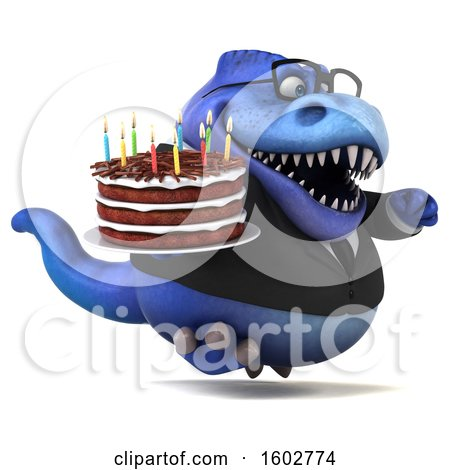 Clipart of a 3d Blue Business T Rex Dinosaur Holding a Birthday Cake, on a White Background - Royalty Free Illustration by Julos