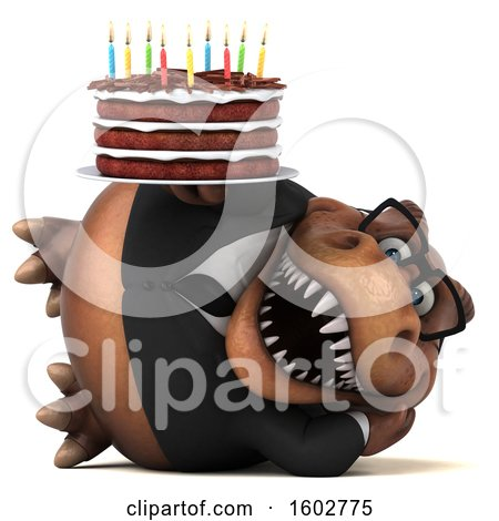 Clipart of a 3d Brown Business T Rex Dinosaur Holding a Birthday Cake, on a White Background - Royalty Free Illustration by Julos