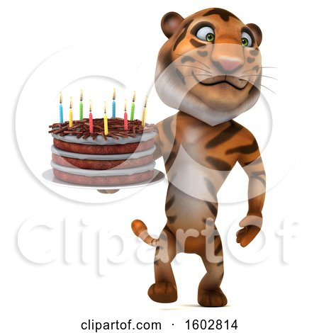 Clipart of a 3d Tiger Holding a Birthday Cake, on a White Background - Royalty Free Illustration by Julos