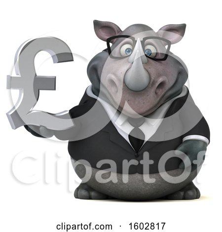 Clipart of a 3d Business Rhinoceros Holding a Lira, on a White Background - Royalty Free Illustration by Julos