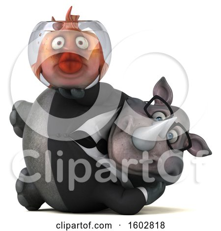 Clipart of a 3d Business Rhinoceros Holding a Fish Bowl, on a White Background - Royalty Free Illustration by Julos