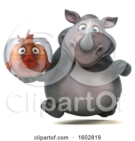 Clipart of a 3d Rhinoceros Holding a Fish Bowl, on a White Background - Royalty Free Illustration by Julos