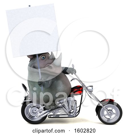 Clipart of a 3d Rhinoceros Biker Riding a Chopper Motorcycle, on a White Background - Royalty Free Illustration by Julos