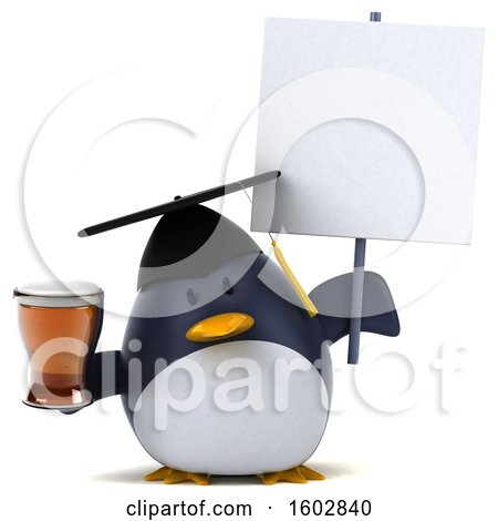 Clipart of a 3d Chubby Penguin Graduate Holding a Beer, on a White Background - Royalty Free Illustration by Julos