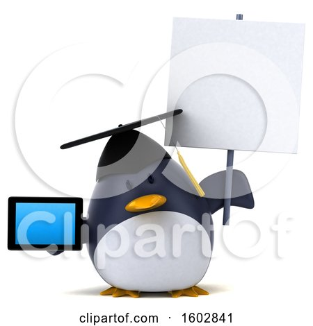 Clipart of a 3d Chubby Penguin Graduate Holding a Tablet, on a White Background - Royalty Free Illustration by Julos