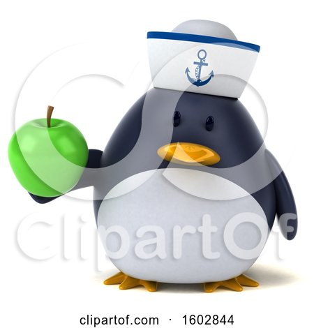 Clipart of a 3d Chubby Penguin Sailor Holding an Apple, on a White Background - Royalty Free Illustration by Julos