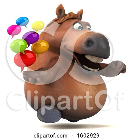 Clipart of a 3d Chubby Brown Horse Holding Messages, on a White Background - Royalty Free Illustration by Julos