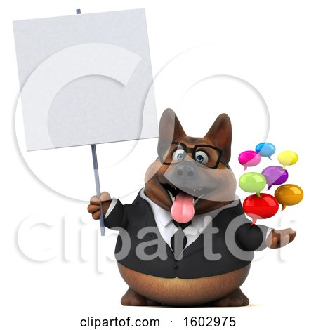 Clipart of a 3d Business German Shepherd Dog Holding Messages, on a White Background - Royalty Free Illustration by Julos