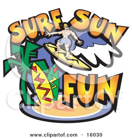 Surfer Dude Riding A Wave Near A Tropical Beach Clipart Illustration by Andy Nortnik