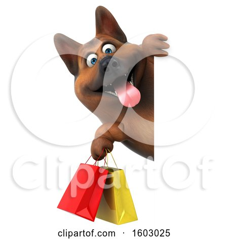 Clipart of a 3d German Shepherd Dog Holding Shopping Bags, on a White Background - Royalty Free Illustration by Julos