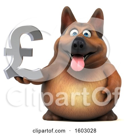 Clipart of a 3d German Shepherd Dog Holding a Lira, on a White Background - Royalty Free Illustration by Julos