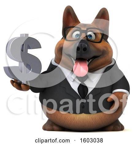 Clipart of a 3d Business German Shepherd Dog Holding a Dollar Sign, on a White Background - Royalty Free Illustration by Julos