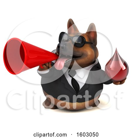 Clipart of a 3d Business German Shepherd Dog Holding a Blood Drop, on a White Background - Royalty Free Illustration by Julos