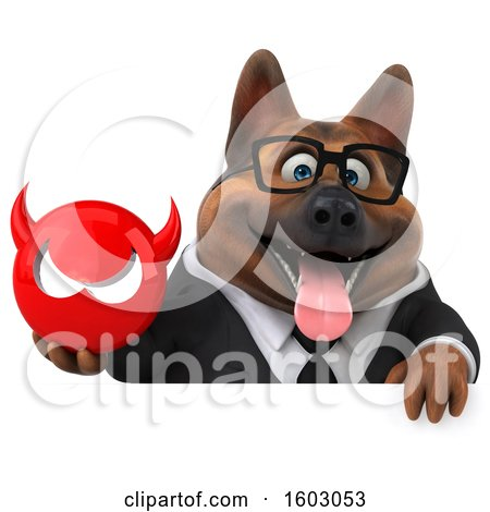 Clipart of a 3d Business German Shepherd Dog Holding a Devil, on a White Background - Royalty Free Illustration by Julos