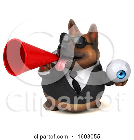 Clipart of a 3d Business German Shepherd Dog Holding an Eyeball, on a White Background - Royalty Free Illustration by Julos