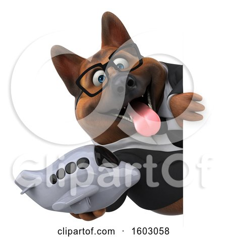 Clipart of a 3d Business German Shepherd Dog Holding a Plane, on a White Background - Royalty Free Illustration by Julos