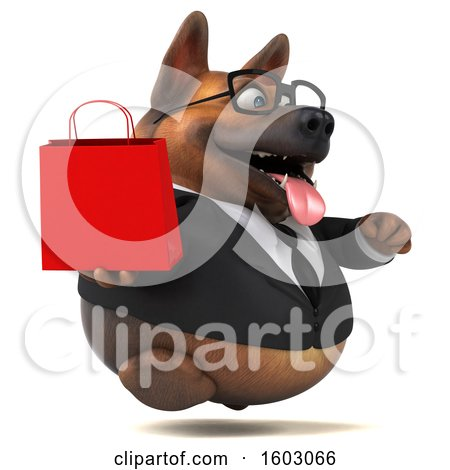 Clipart of a 3d Business German Shepherd Dog Holding a Shopping Bag, on a White Background - Royalty Free Illustration by Julos
