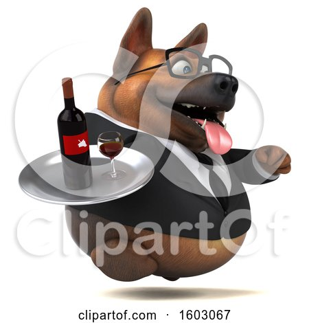 Clipart of a 3d Business German Shepherd Dog Holding Wine, on a White Background - Royalty Free Illustration by Julos