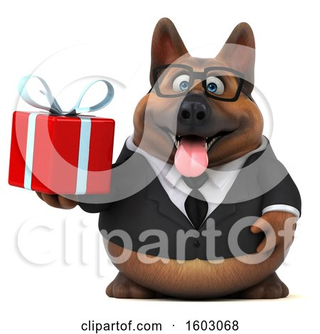 Clipart of a 3d Business German Shepherd Dog Holding a Gift, on a White Background - Royalty Free Illustration by Julos