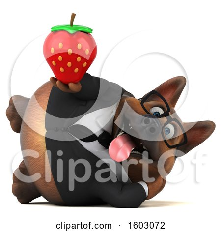 Clipart of a 3d Business German Shepherd Dog Holding a Strawberry, on a White Background - Royalty Free Illustration by Julos