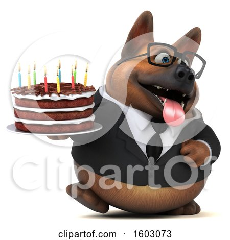 Clipart of a 3d Business German Shepherd Dog Holding a Birthday Cake, on a White Background - Royalty Free Illustration by Julos