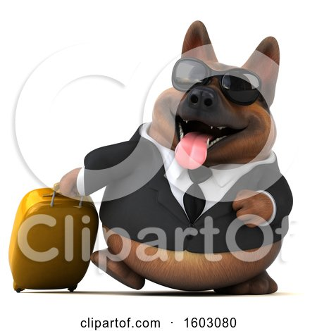 Clipart of a 3d Business German Shepherd Dog Traveler, on a White Background - Royalty Free Illustration by Julos