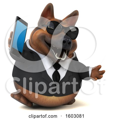 Clipart of a 3d Business German Shepherd Dog Holding a Cell Phone, on a White Background - Royalty Free Illustration by Julos