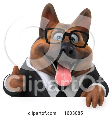 Clipart of a 3d Business German Shepherd Dog Holding a Thumb Up, on a White Background - Royalty Free Illustration by Julos