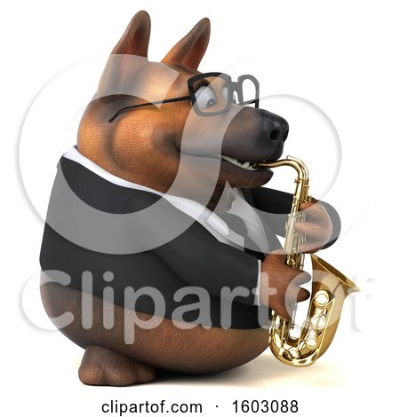 Clipart of a 3d Business German Shepherd Dog Playing a Saxophone, on a White Background - Royalty Free Illustration by Julos