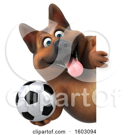 Clipart of a 3d German Shepherd Dog Holding a Soccer Ball, on a White Background - Royalty Free Illustration by Julos