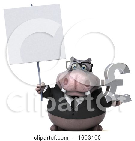 Clipart of a 3d Business Hippo Holding a Lira, on a White Background - Royalty Free Illustration by Julos