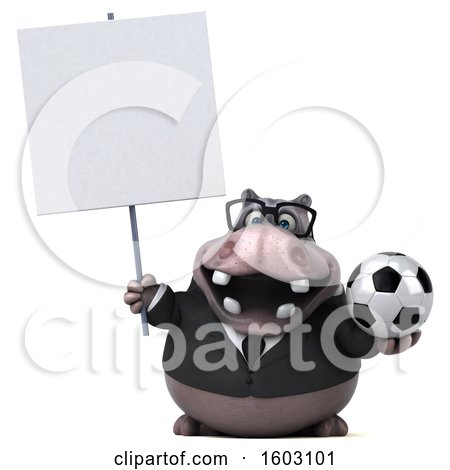 Clipart of a 3d Business Hippo Holding a Soccer Ball, on a White Background - Royalty Free Illustration by Julos