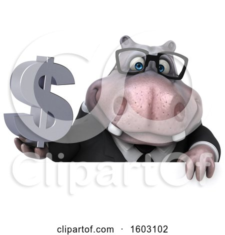 Clipart of a 3d Business Hippo Holding a Dollar Sign, on a White Background - Royalty Free Illustration by Julos
