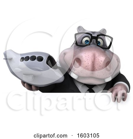 Clipart of a 3d Business Hippo Holding a Plane, on a White Background - Royalty Free Illustration by Julos