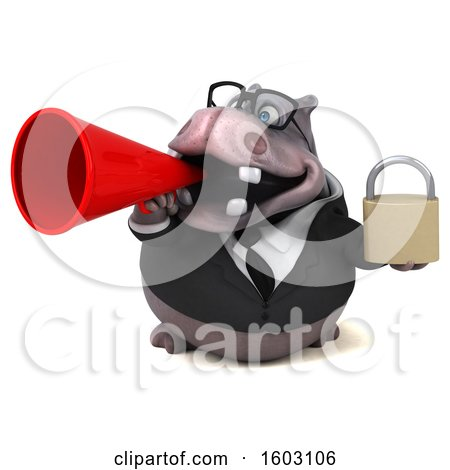 Clipart of a 3d Business Hippo Holding a Padlock, on a White Background - Royalty Free Illustration by Julos