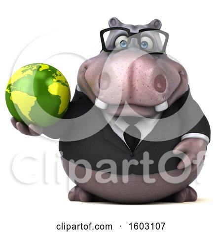 Clipart of a 3d Business Hippo Holding a Globe, on a White Background - Royalty Free Illustration by Julos