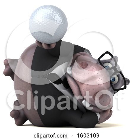 Clipart of a 3d Business Hippo Holding a Golf Ball, on a White Background - Royalty Free Illustration by Julos