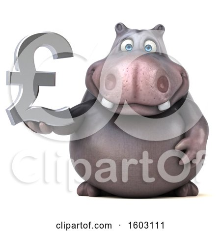 Clipart of a 3d Hippo Holding a Lira, on a White Background - Royalty Free Illustration by Julos