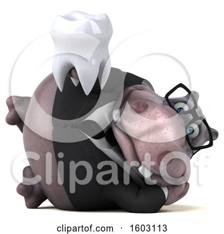 Clipart of a 3d Business Hippo Holding a Tooth, on a White Background - Royalty Free Illustration by Julos