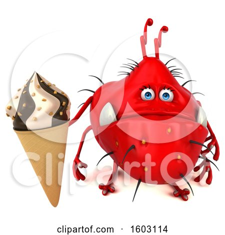 Clipart of a 3d Red Germ Monster Holding a Waffle Cone, on a White Background - Royalty Free Illustration by Julos
