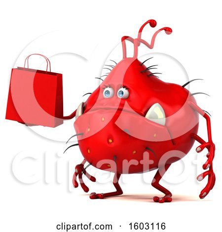 Clipart of a 3d Red Germ Monster Holding a Shopping Bag, on a White Background - Royalty Free Illustration by Julos