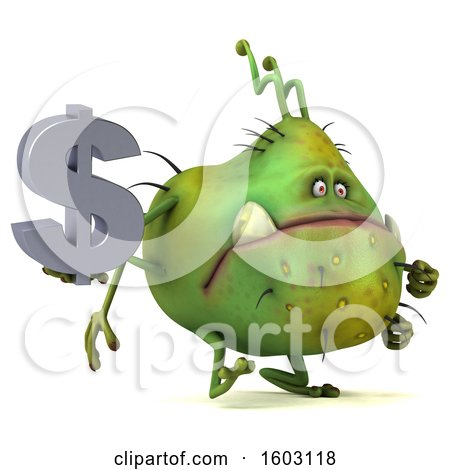 Clipart of a 3d Green Germ Monster Holding a Dollar Sign, on a White Background - Royalty Free Illustration by Julos