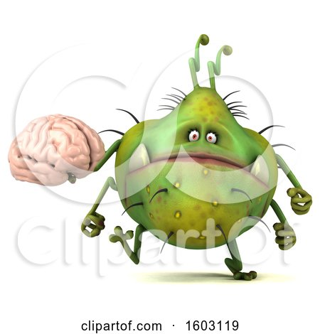 Clipart of a 3d Green Germ Monster Holding a Brain, on a White Background - Royalty Free Illustration by Julos