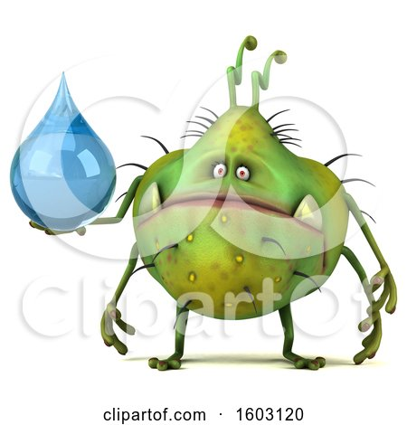 Clipart of a 3d Green Germ Monster Holding a Water Drop, on a White Background - Royalty Free Illustration by Julos