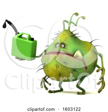 Clipart of a 3d Green Germ Monster Holding a Gas Can, on a White Background - Royalty Free Illustration by Julos