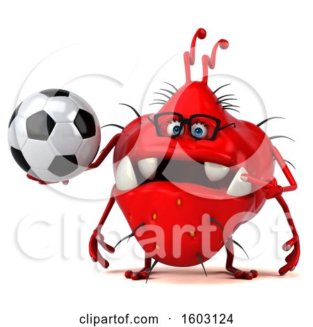 Clipart of a 3d Red Germ Monster Holding a Soccer Ball, on a White Background - Royalty Free Illustration by Julos